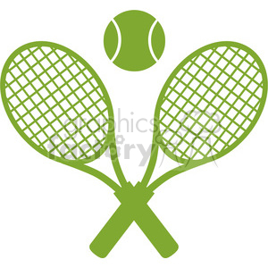 green crossed racket and tennis ball vector illustration isolated on white clipart. Royalty-free image # 400182