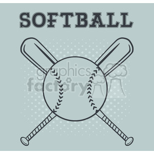 softball over crossed bats logo design vector illustration with text and background clipart. Commercial use image # 400192
