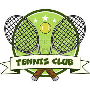crossed racket and tennis ball logo design label vector illustration isolated on white and text tennis club clipart. Royalty-free image # 400202