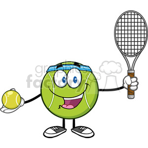 tennis ball player cartoon character holding a tennis ball and racket vector illustration isolated on white clipart. Royalty-free image # 400222