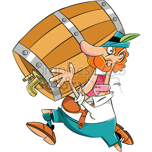 oktoberfest character guy running with barrel of beer clipart. Royalty-free image # 400307