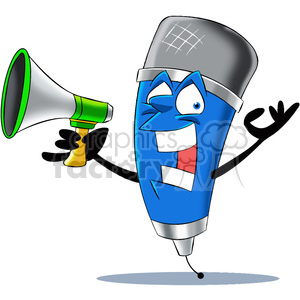 cartoon microphone mascot character with a megaphone clipart. Royalty-free image # 400317