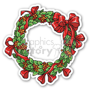 christmas wreath v3 sticker clipart. Royalty-free image # 400400