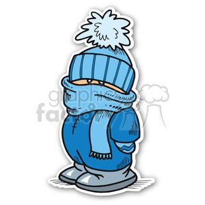 christmas boy dressed for winter sticker clipart. Royalty-free image # 400416