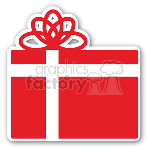 christmas gift sticker red clipart. Royalty-free image # 400426