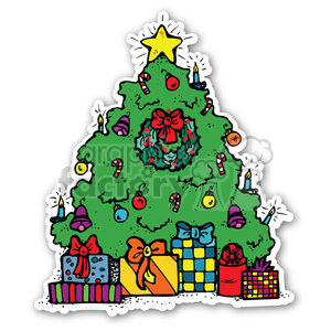 christmas tree sticker clipart. Commercial use image # 400453