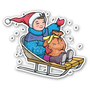 christmas boy on sled sticker clipart. Commercial use image # 400469
