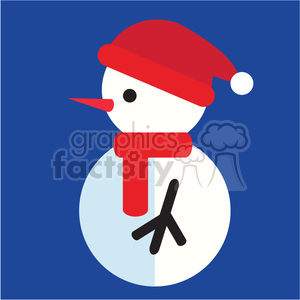 snowman profile with santa hat on blue square icon vector art clipart. Commercial use image # 400519