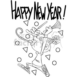 Black And White Happy New Year Celebration Vector Cartoon Art