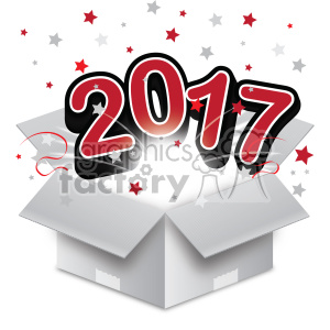 red 2017 new year exploding from a box vector art animation. Commercial use animation # 400599