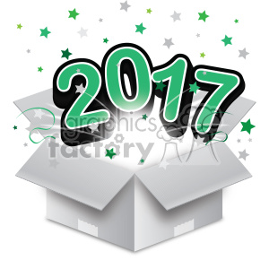 green 2017 new year exploding from a box vector art clipart. Royalty-free image # 400609