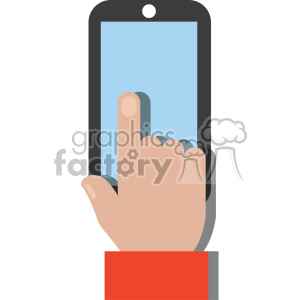 white hand holding device no background flat design vector art clipart. Royalty-free icon # 400619