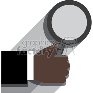 african american hand holding a magnifying glass flat design vector art no background clipart. Royalty-free image # 400629