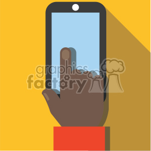 african american hand holding device flat design vector art clipart. Commercial use image # 400639