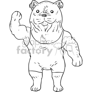 illustration outline black+white strong dog muscles fitness