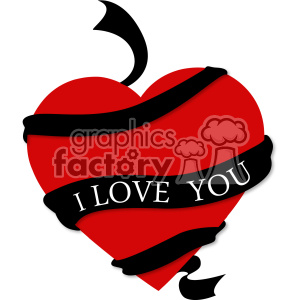heart with ribbon i love you svg cut files vector valentines die cuts clip art