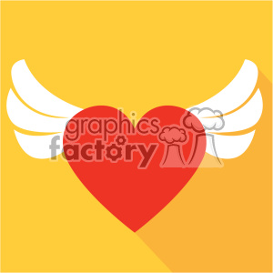 heart with wings vector art flat design