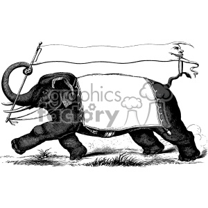 vintage 1880 circus elephant carrying banners vector vintage 1900 vector art GF clipart. Royalty-free image # 402476