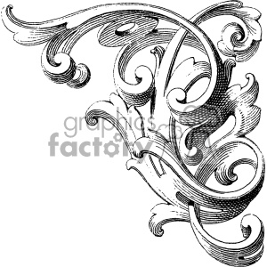 vintage distressed vintage wood corner carving right ornament GF vector design vintage 1900 vector art GF clipart. Royalty-free image # 402551
