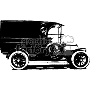 vintage retro old black+white car truck vehicle