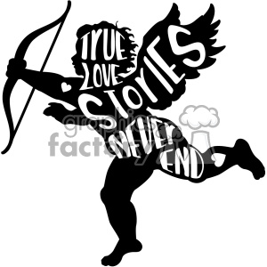 true love stories never end vector cupid silhouette svg cut file clipart. Commercial use image # 402643