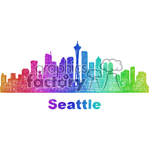 city skyline vector clipart USA Seattle clipart. Commercial use image # 402666