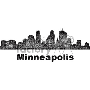 black and white city skyline vector clipart USA Minneapolis clipart. Royalty-free image # 402676