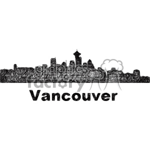 black and white city skyline vector clipart CAN Vancouver clipart. Commercial use image # 402686