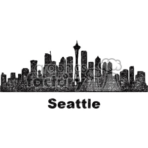 black and white city skyline vector clipart USA Seattle clipart. Commercial use image # 402716