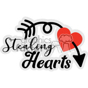 stealing hearts with arrow svg cut file vector design