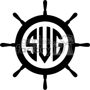 ship wheel monogram svg cut file clipart. Royalty-free image # 403098