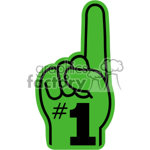 green with black number one hand vector clip art clipart. Commercial use image # 403108