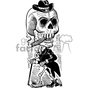 Jose Guadalupe Posada skull vector art 1900 day of the dead clipart. Commercial use image # 403138
