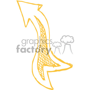 sketched up yellow arrow vector art clipart. Royalty-free image # 403249