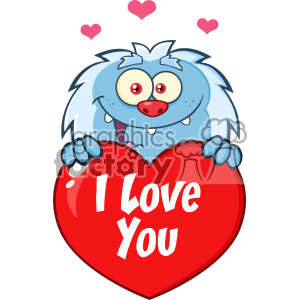 10654 Royalty Free RF Clipart Happy Little Yeti Cartoon Mascot Character Over A Valentine Love Heart Vector With Text I love You clipart. Commercial use image # 403352