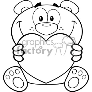 10677 Royalty Free RF Clipart Black And White Teddy Bear Cartoon Mascot Character Holding A Valentine Love Heart Vector Illustration