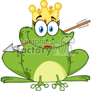 10658 Royalty Free RF Clipart Cute Princess Frog Cartoon Mascot Character With Crown And Arrow Vector Illustration