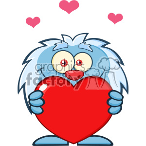 10651 Royalty Free RF Clipart Cute Little Yeti Cartoon Mascot Character Holding A Valentine Love Heart Vector Illustration