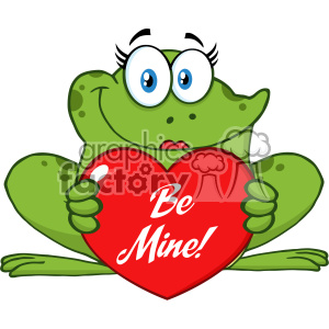 10664 Royalty Free RF Clipart Smiling Frog Female Cartoon Mascot Character Holding A Valentine Love Heart With Text Be Me Vector Illustration