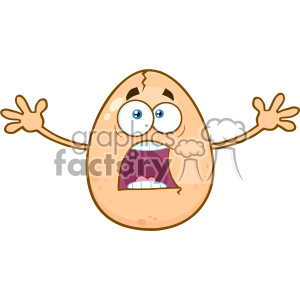 10969 Royalty Free RF Clipart Scared Cracked Egg Cartoon Mascot Character With Open Arms Vector Illustration clipart. Commercial use image # 403387