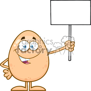 10930 Royalty Free RF Clipart Talking Egg Cartoon Mascot Character Holding A Blank Sign Vector Illustration