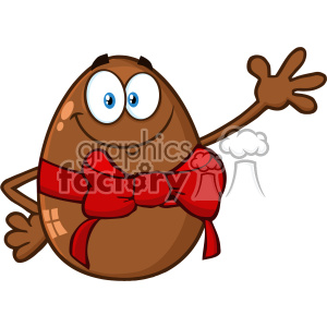 10982 Royalty Free RF Clipart Smiling Chocolate Egg Cartoon Mascot Character With A Red Ribbon And Bow Waving For Greeting Vector Illustration
