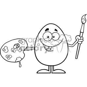 10939 Royalty Free RF Clipart Black And White Smiling Egg Cartoon Mascot Character Holding A Paintbrush And Palette Vector Illustration
