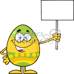 10953 Royalty Free RF Clipart Colored Easter Egg Cartoon Mascot Character Holding A Blank Sign Vector Illustration clipart. Royalty-free image # 403422
