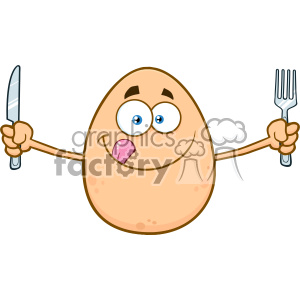 10974 Royalty Free RF Clipart Cute Egg Cartoon Mascot Character Licking His Lips And Holding Silverware Vector Illustration