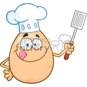 10962 Royalty Free RF Clipart Chef Egg Cartoon Mascot Character Licking His Lips And Holding A Spatula Vector Illustration clipart. Royalty-free image # 403432