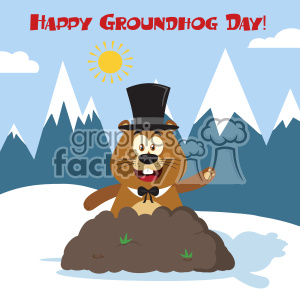 10648 Royalty Free RF Clipart Happy Marmmot Cartoon Mascot Character With Cylinder Hat Waving In Groundhog Day Vector Flat Design With Background And Text Happy Groundhog Day clipart. Commercial use image # 403442