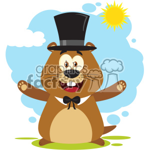 10633 Royalty Free RF Clipart Happy Marmot Cartoon Mascot Character Wearing A Hat And Welcoming Under Sunshine Vector Flat Design With Background Isolated On White clipart. Commercial use image # 403447