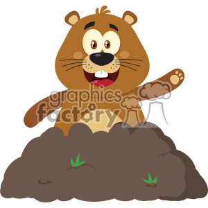 10641 Royalty Free RF Clipart Happy Marmmot Cartoon Mascot Character Waving In Groundhog Day Vector Flat Design clipart. Royalty-free image # 403452