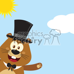 10639 Royalty Free RF Clipart Happy Marmot Cartoon Mascot Character With Hat Waving From Corner Vector Flat Design With Background